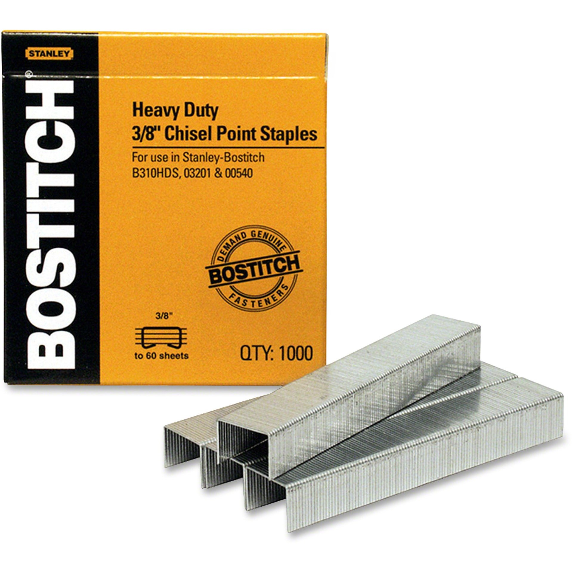 Amax SB35381M Heavy-Duty Staples,1/2''W, 3/8''L,100/Strip, 1000/BX