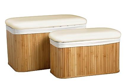 Pleasant Premier Housewares Bamboo Storage Ottomans Set Of 2 Natural Inzonedesignstudio Interior Chair Design Inzonedesignstudiocom