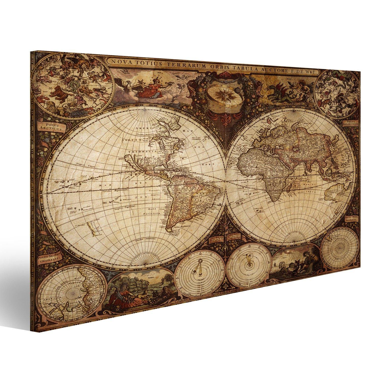 islandburner Tableau Tableaux sur Toile Vieille Carte du Monde Vintage Planisphère Image, Images, Poster, Impression
