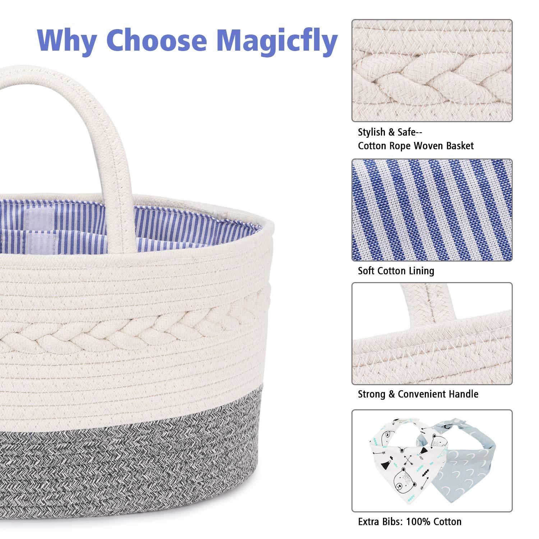 Baby Shower Gift Basket Rainbow Diaper Basket Organizer Portable Cotton Rope Nursery Storage Bins for Newborn and Infant Essentials Magicfly Baby Diaper Caddy Organizer with 2 Bibs