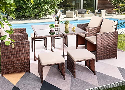 Furniwell 9 Pieces Patio Dining Sets Outdoor Wicker Furniture Sets Space Saving Rattan Glass Table