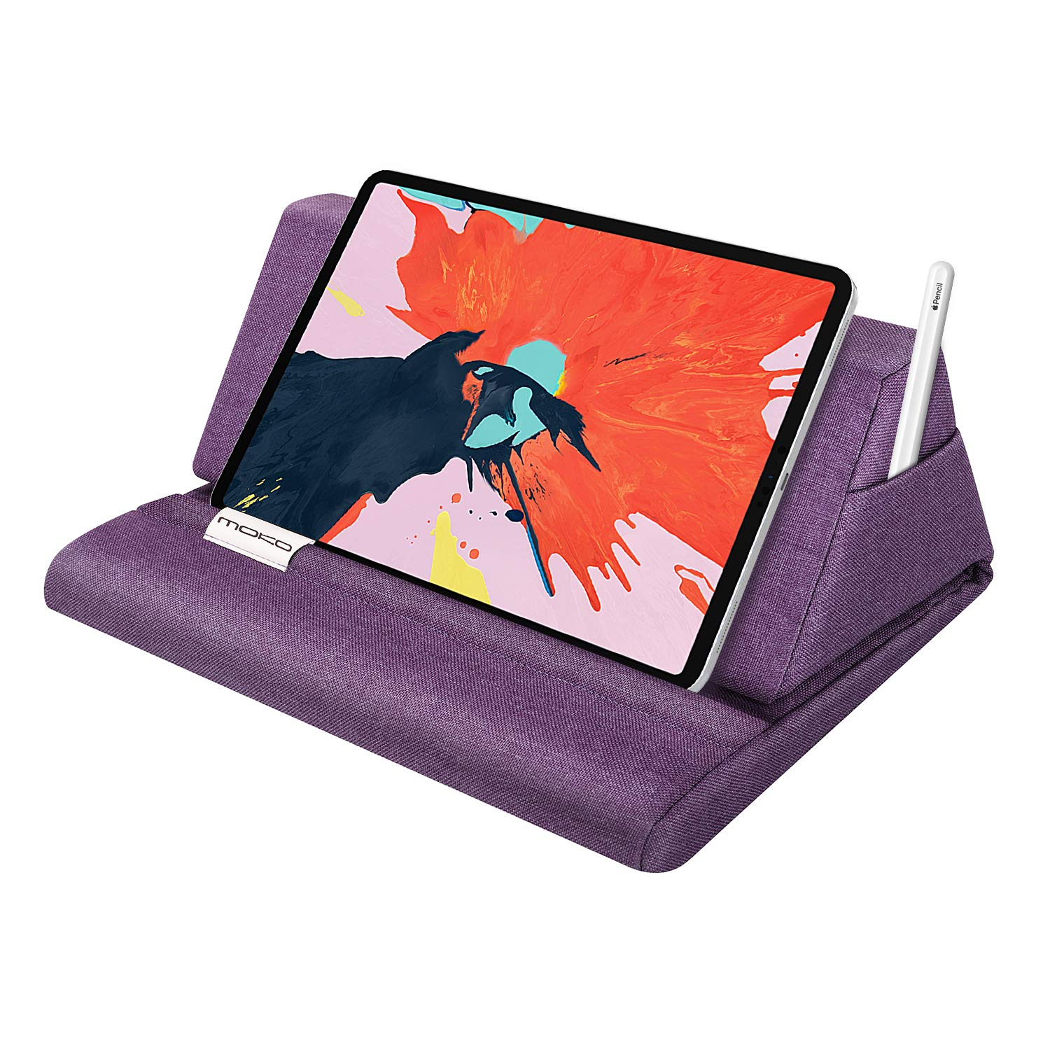 "MoKo Tablet Pillow Stand, Soft Bed Pillow Holder Fits up to 11"" Pad, Fit with iPad 10.2"" 2019, New iPad Air 3, Mini 5, Ipad Pro 11 2018/10.5/9.7, Air Mini 1 2 3 4, Samsung Galaxy Tab, Purple"