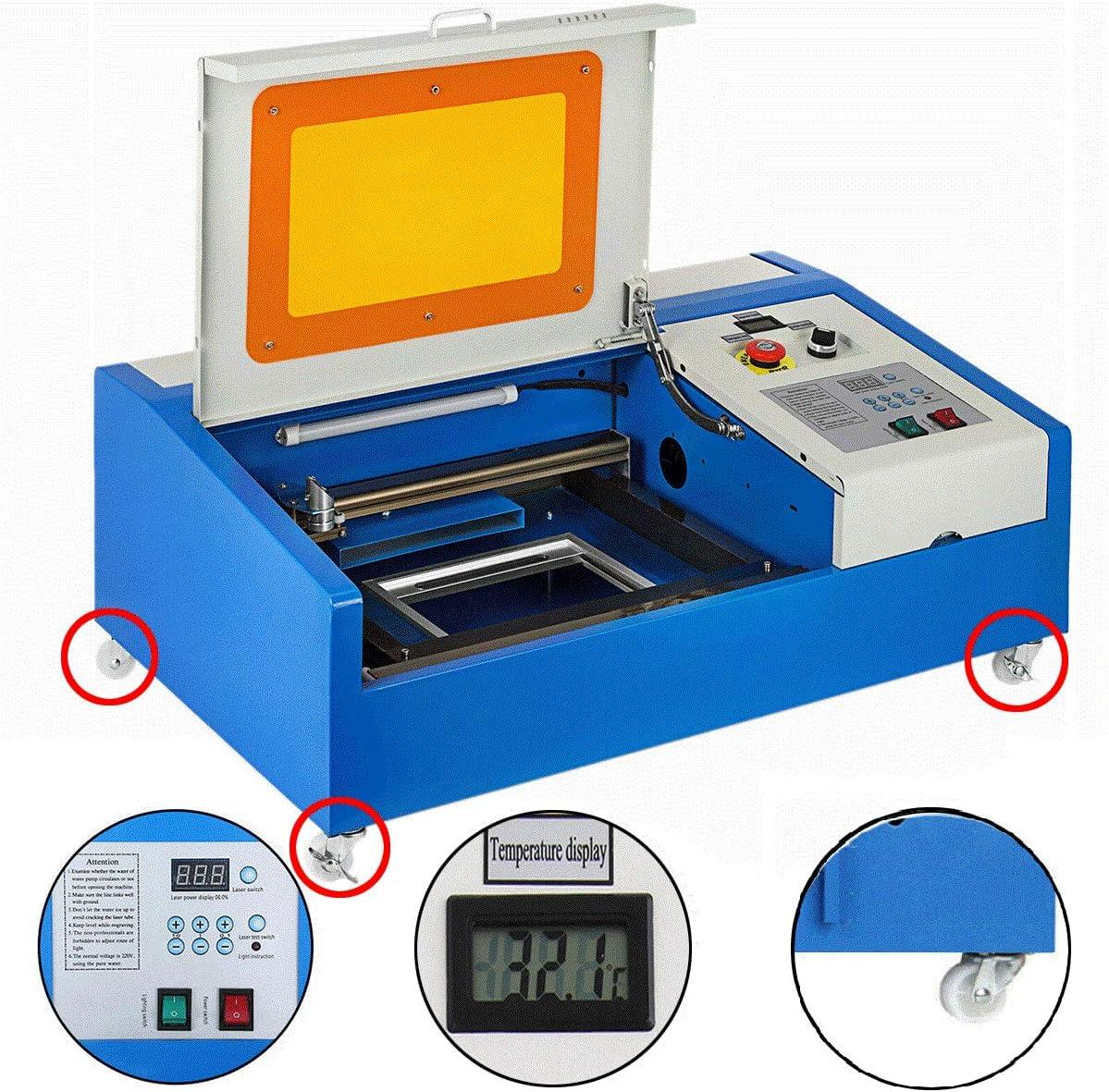 VEVOR Versión Mejorada 40W USB CO2 Máquina de Grabado Láser Herramienta de Corte 300x200mm Rueda Giratoria LCD