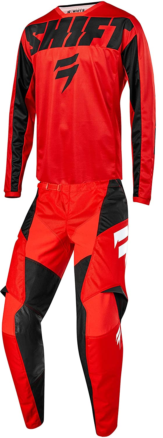 Shift MX 2019 White Label York Motocross Off-Road Dirt Bike Riding Gear Combo (Youth Red & Black Jersey Y-Large/Y-24W Pant)