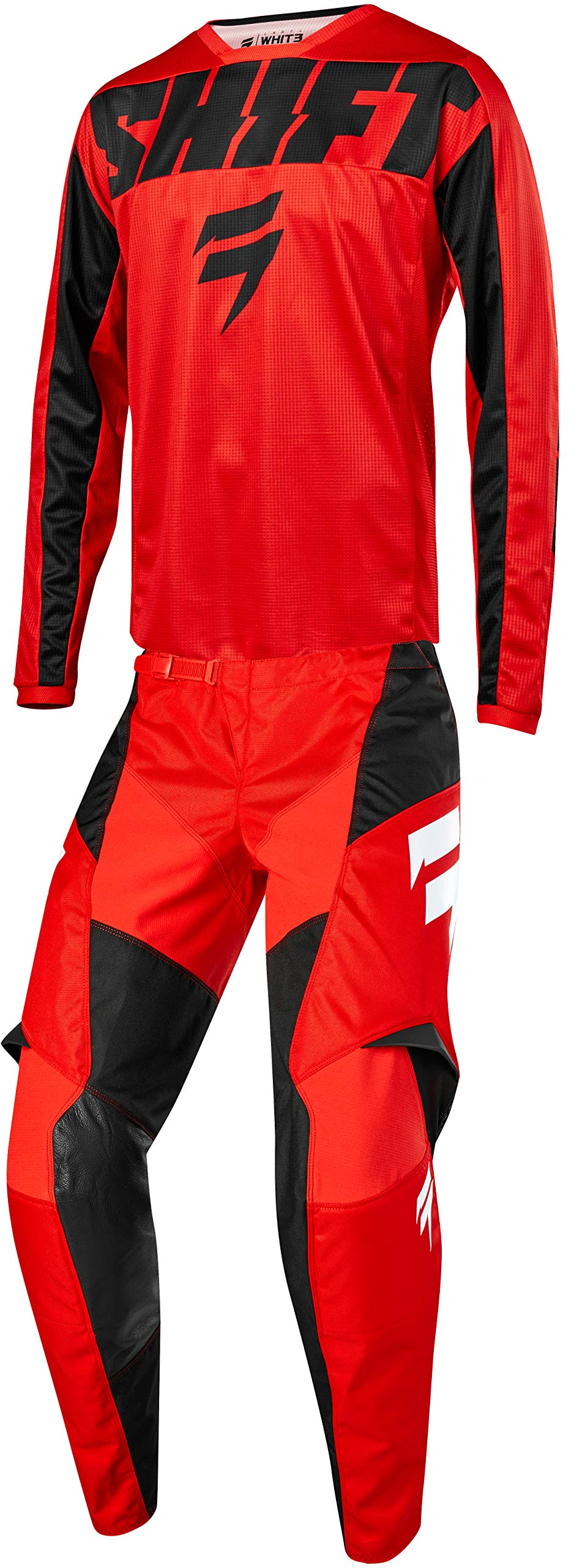 Shift MX 2019 White Label York Motocross Off-Road Dirt Bike Riding Gear Combo (Youth Red & Black Jersey Y-Small/Y-24W Pant)