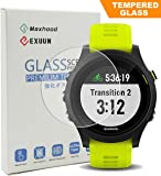 Exuun (1-Pack) Garmin Forerunner 935 Screen Protector Glass, 0.3mm Ultra-Thin 9H Hardness Anti-Fingerprint 2.5D Round Edge Watch Tempered Glass Screen Protector for Garmin 935