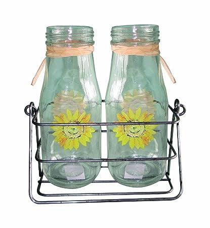Amazon Transpac Glass Sunflower Milk Bottle Vases In Metal