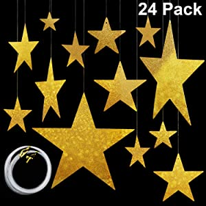 Maitys Hanging Star Cutouts with 4 Sizes (6cm/12cm/20cm/30cm) Shining Finish Star Yard Decorations Party Decor with 50 m Nylon Beading Fishing Line (Gold, 24)