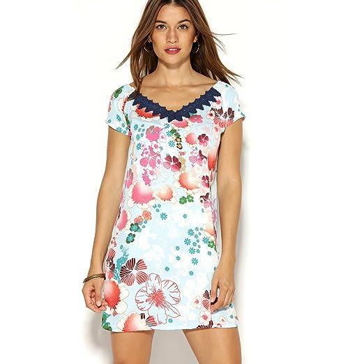 Vestido Corto de Mujer con Estampado Floral y Escote de guipur en V by Vencastyle: Amazon.es: Ropa y accesorios