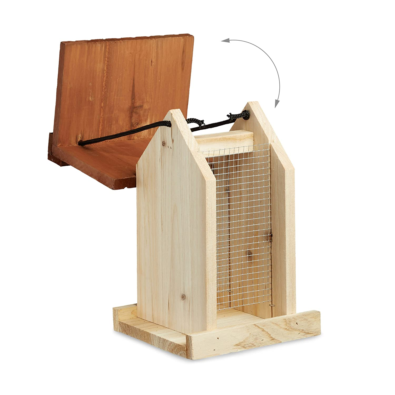 Relaxdays Comedero para Pájaros Colgante en Forma de Casa, Madera, Beige, 27 x 17 x 18 cm: Amazon.es: Hogar