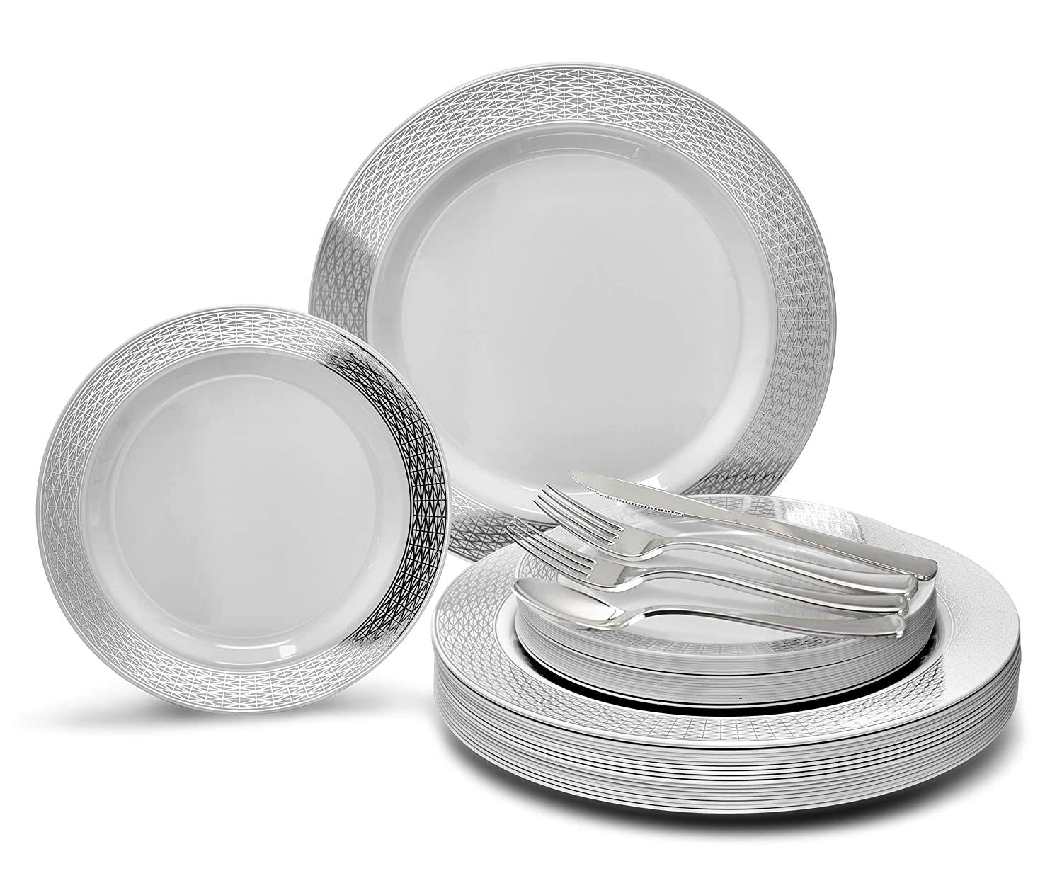 Diamond White   Silver Plates, Silver Silverware 720 pcs (120 guests) OCCASIONS 720 PCS   120 GUEST Wedding Disposable Plastic Plate and Silverware Combo Set (Diamond White Silver Plates, Silver Silverware)