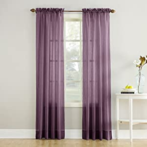 """No. 918 Erica Crushed Texture Sheer Voile Rod Pocket Curtain Panel, 51"""" x 84"""", Purple"""