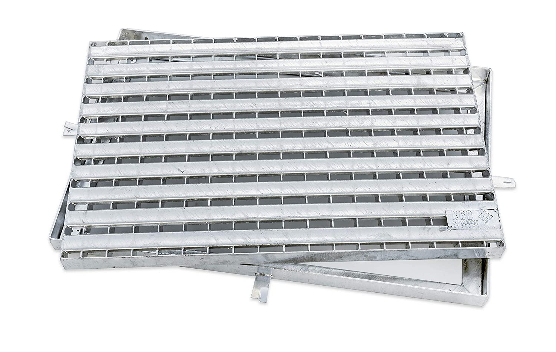 K60-Barfu/ßrost mit Zarge Stahl, verzinkt, 400 x 600 mm