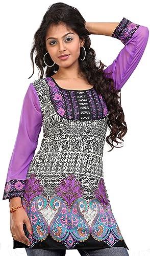MapleClothing Indian Top Túnica Para Mujer Kurti Impreso Blusa India Ropa