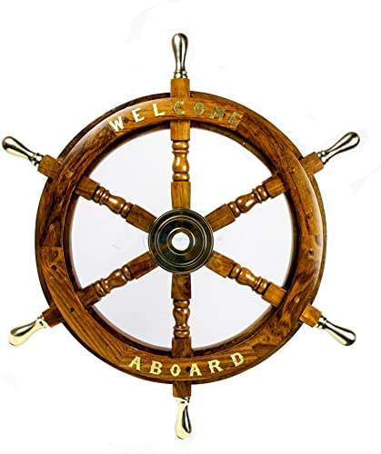 Nagina International Welcome Aboard Embedded Premium Handcrafted Nautical Pirate s Wall Decor Ship Wheel 24 Inches, Brass Handle