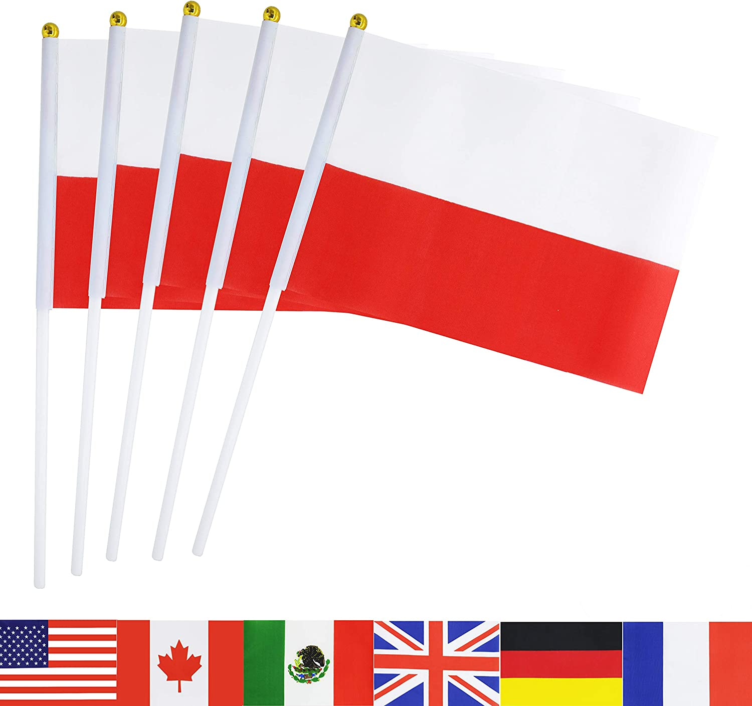 TSMD Poland Stick Flag, 50 Pack Hand Held Small Polish National Flags On Stick,International World Country Stick Flags Banners,Party Decorations for World Cup,Sports Clubs,Festival Events Celebration