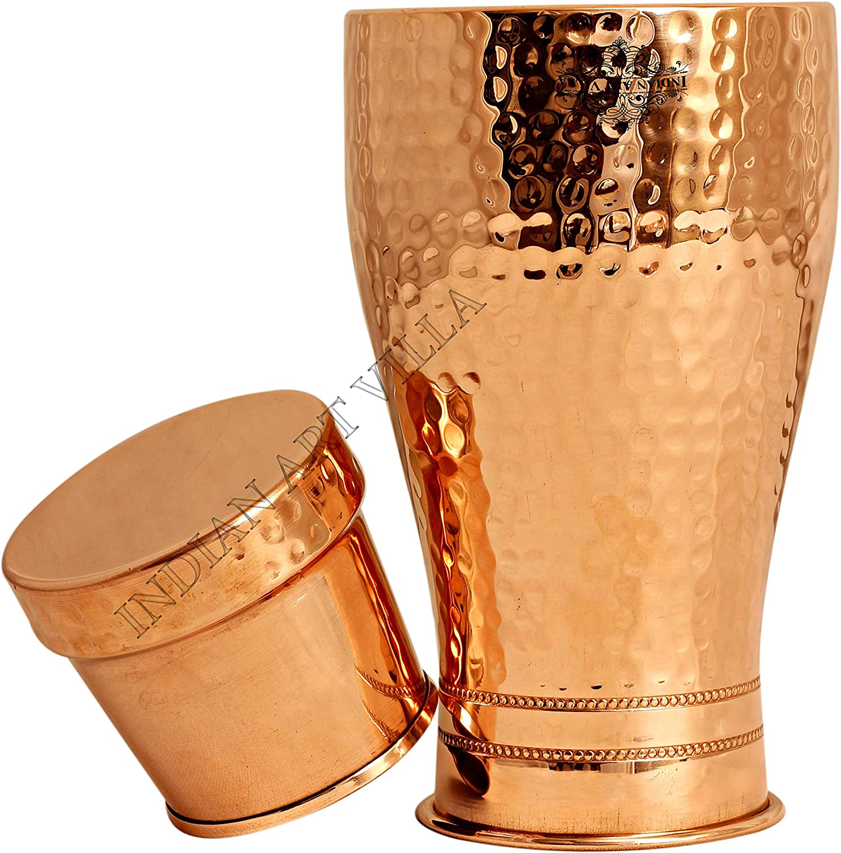Details about  /Hammered Finish Pure Copper Bedroom Bottle With Inbuilt Glass Modern Drink Ware