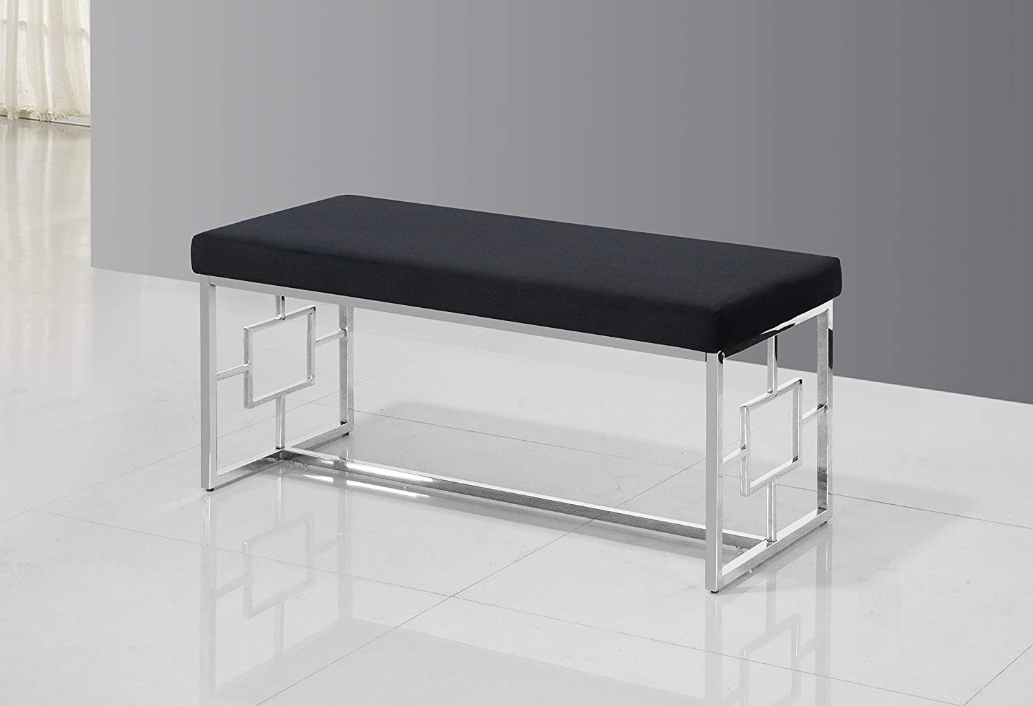 Best Master Furniture Emery Velour Bench with Stainless Steel Frame, Black