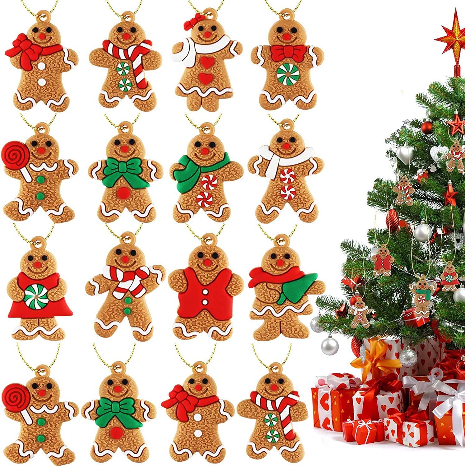 32 Pieces Traditional Gingerbread Man Ornaments Gingerman Doll Hanging Charms Assorted Clay Figurine Shape for Christmas Tree Festival Decoration