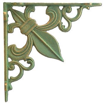 wall shelf bracket fleur de lis cast iron custom shelves brace bronze patina green
