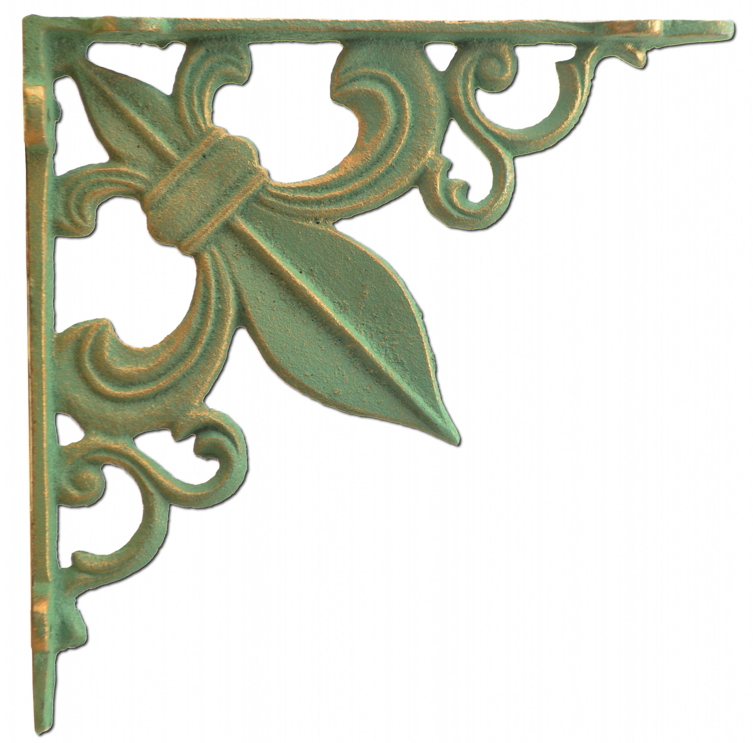 Wall Shelf Bracket Fleur De Lis Cast Iron Custom Shelves Brace Bronze Patina Green 7.375'' by Import Wholesales