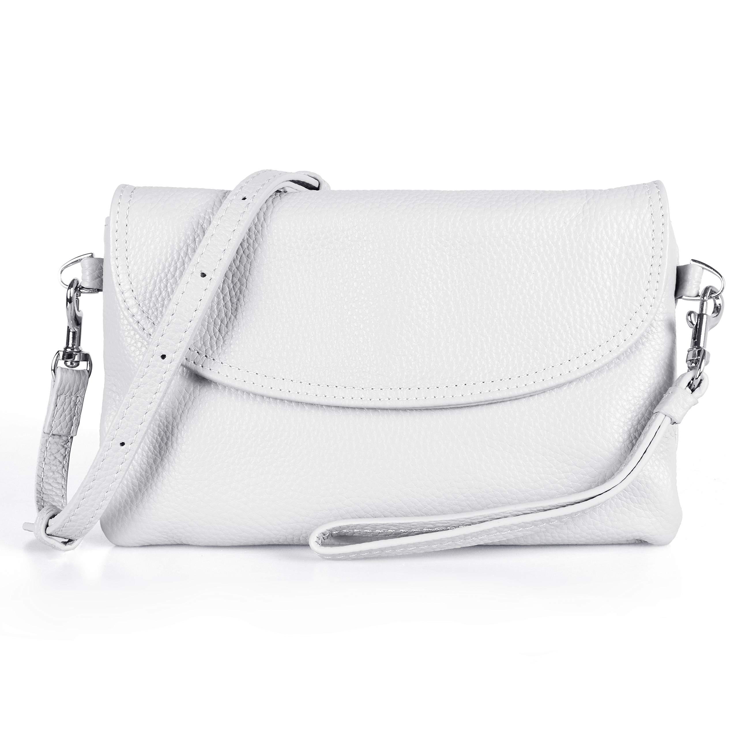 befen Full Grain Leather Wristlet Clutch Wallet Phone Crossbody Wallet Purse with Detachable Shoulder Strap (True White) by befen