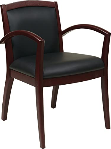 Office Star Napa Full Cushion Black Eco Leather Back and Seat Wood Guest Chair, Mahogany Finish