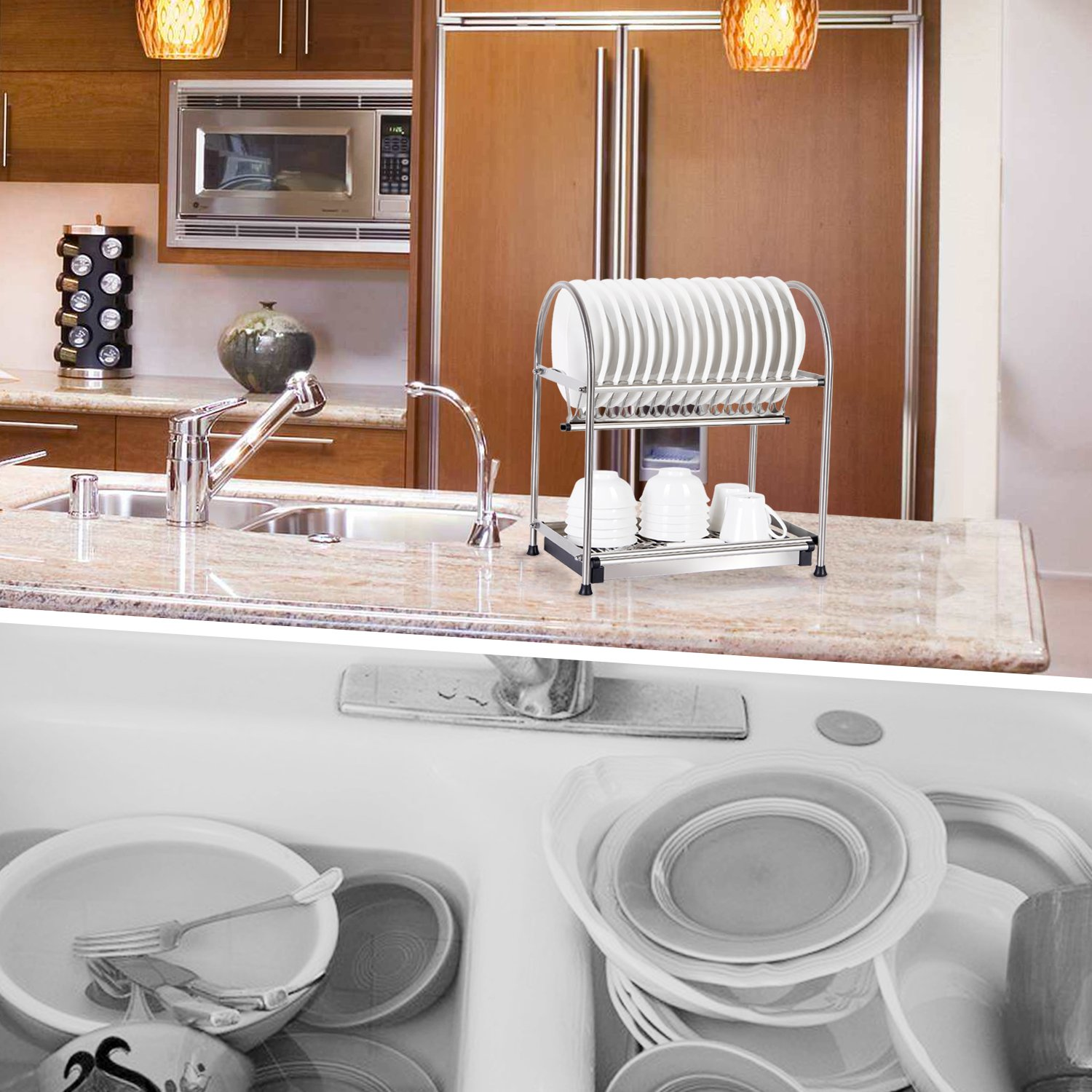 Kitchen Drying Rack For Sink Lifewit Over The Sink 2 Tier Dish Drainer Drying Rack Holder