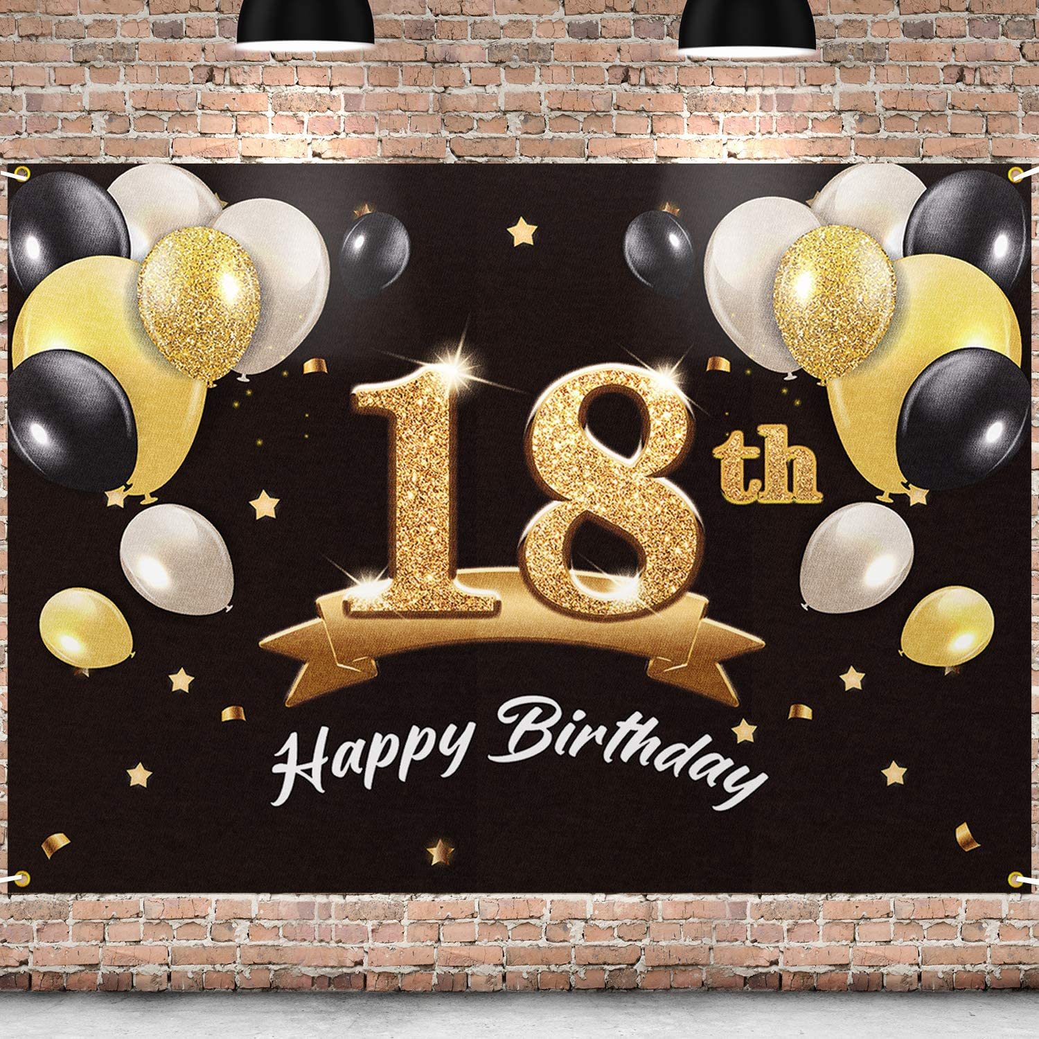 Amazon.com: PAKBOOM Happy 18th Birthday Banner Backdrop - 18 Birthday Party  Decorations Supplies for Men- Black Gold 4 x 6ft: Toys & Games