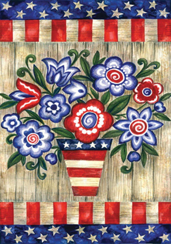 """Toland Home Garden 118228 Patriotic Flowers Flag, Garden (12.5"""" x 18"""")"""