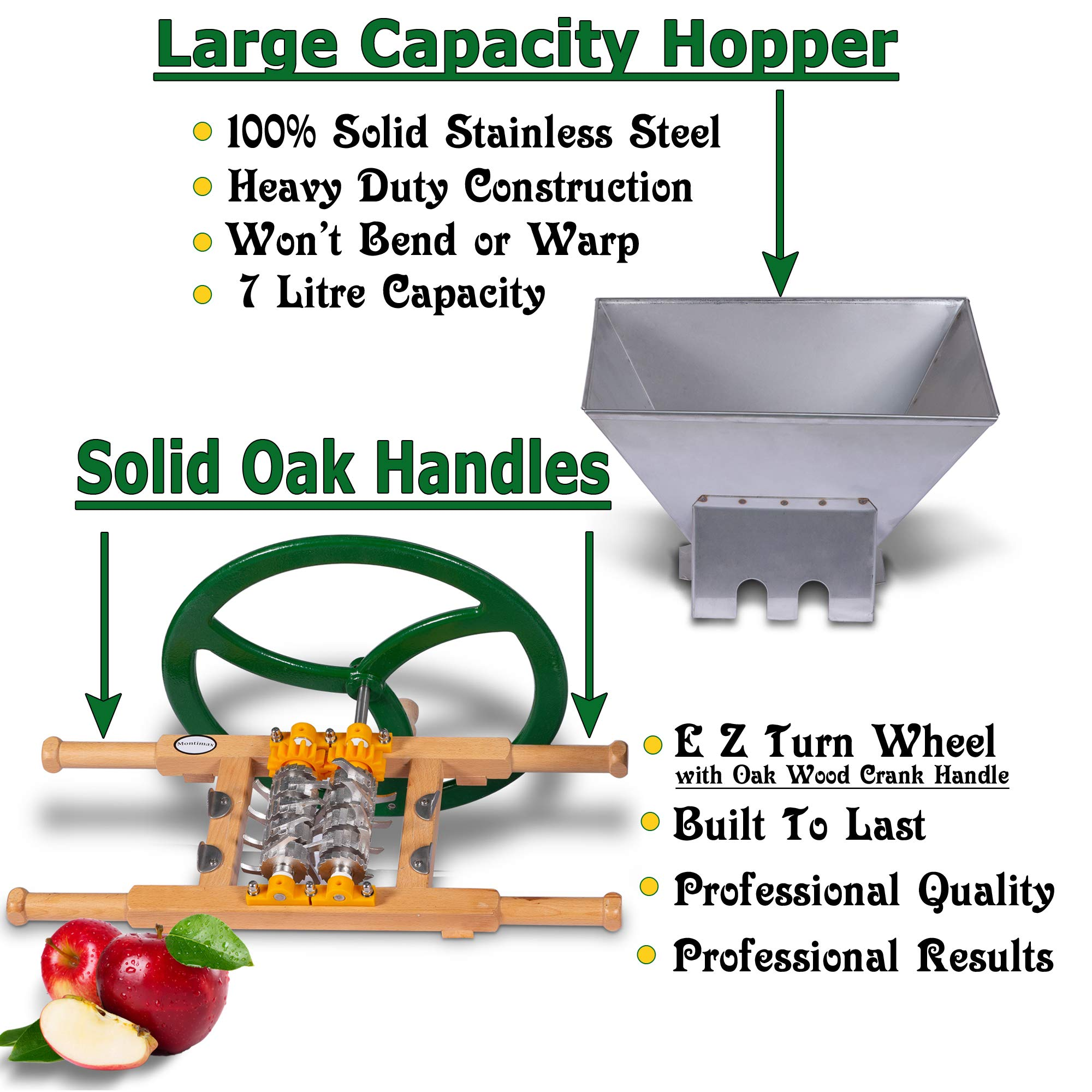 Fruit & Apple Crusher for Wine & Cider Pressing - Manual Juicer Grinder & Fruit Scatter - Heavy Duty Stainless Steel Cutting Blades & Hopper - By Green Max Products by Montimax By Green Max Products (Image #2)