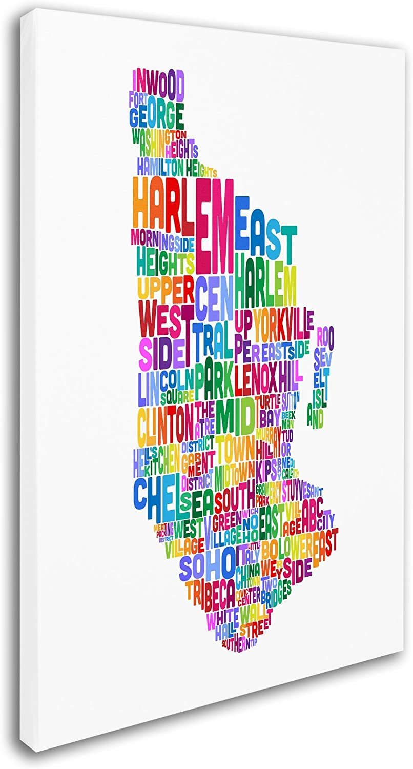 Amazon Com Manhattan New York Typography Text Map By Michael Tompsett 30x47 Inch Canvas Wall Art Posters Prints
