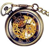 dbccba4ec355 Lancardo Reloj de Bolsillo Mecánico de Cuerda Manual Esfera Transparente  Dial Hueco de Números Romanos Collar