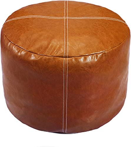 Thgonwid Nordic Faux Leather Pouf, Premium Handmade Ottoman, Footstool Storage Solution, Decor Bedroom Living Room – 14 x18 – Unstuffed Cover , Brown