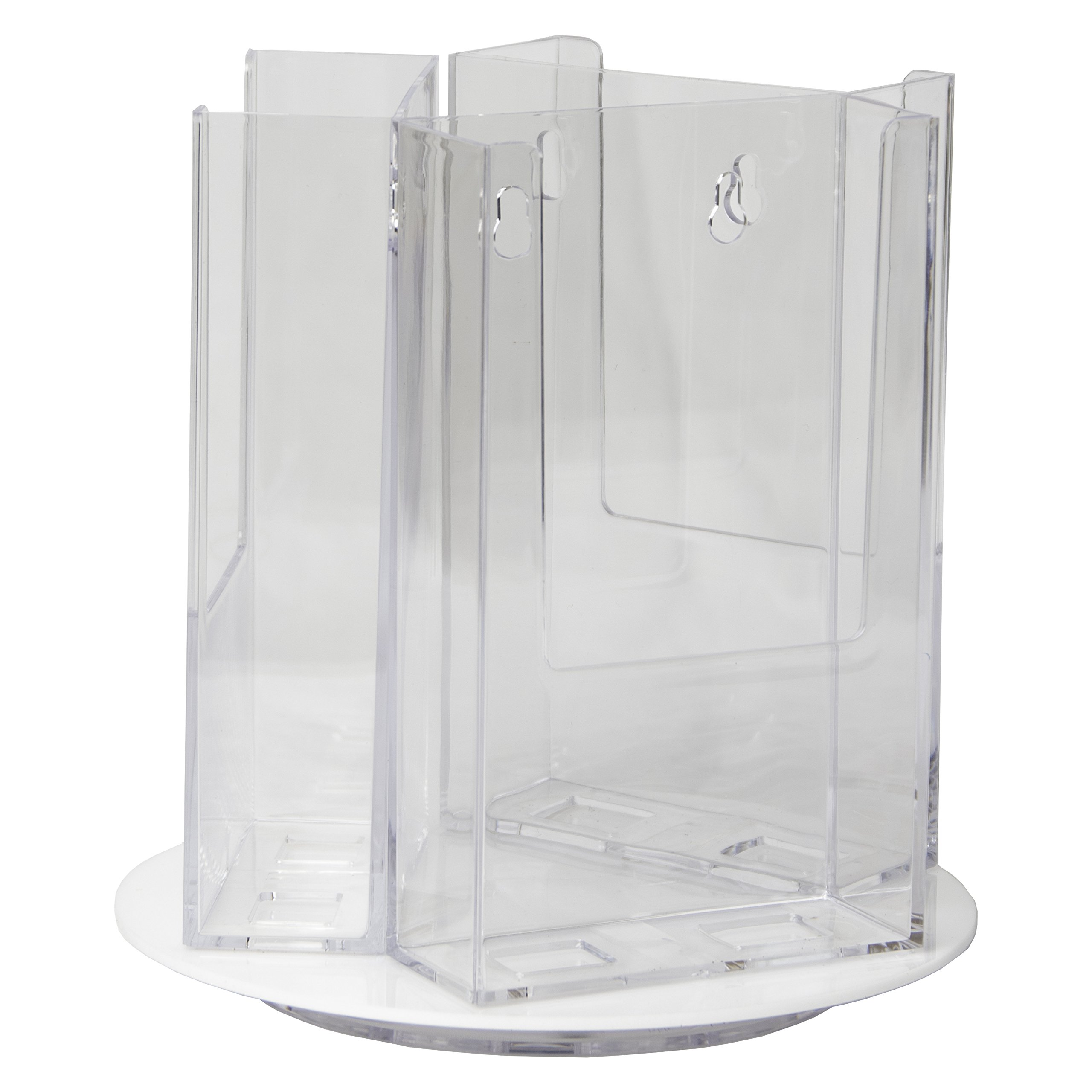 Clear-Ad - RLT-49-3 Acrylic Rotating Trifold Brochure Holders for 4'' Literature Display - Pamphlet Holder and Magazine Organizer