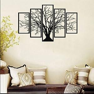 """Metal Tree Wall Art, Tree Sign, Metal Wall Decor, 5 Pieces Wall Hangings, Metal Wall Art, Tree of Life 5 Panels (47""""W x 30""""H /120x75cm)"""