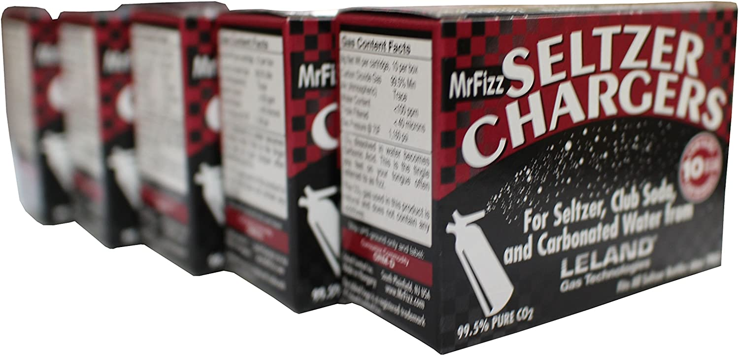 MrFizz LS-50 Sod, Leland Mr Fizz Seltzer 8g CO2 Charger 50PK Compatible with All 1 Liter/Quart Soda Siphons, Silver