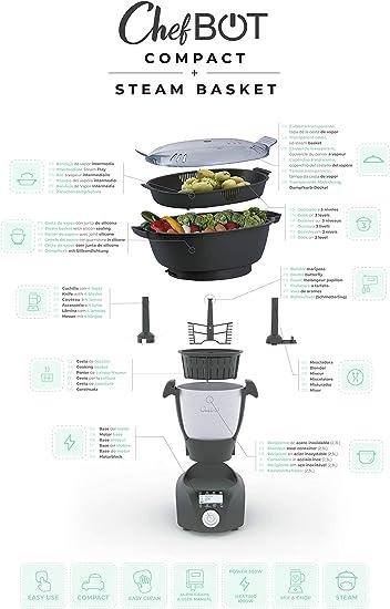 IKOHS CHEFBOT Compact STEAMPRO - Robot de Cocina Multifunción, Cocina al Vapor, 12 Funciones, 10 Velocidades con Turbo, Bol Acero Inoxidable 2, 3 L, Libre BPA (con Vaporera y Recetario - Blanco): Amazon.es