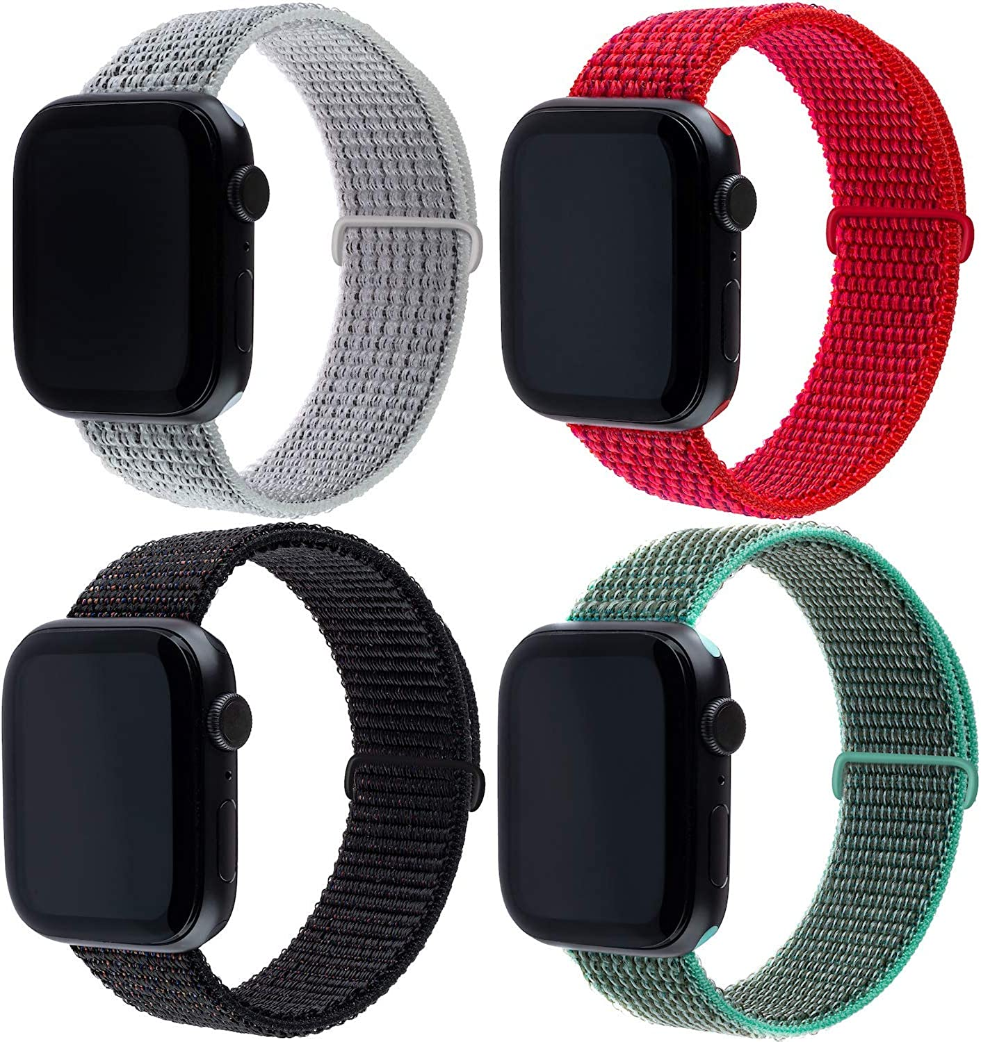 Nylon Bands Compatible with Apple Watch 42mm 44mm, Sport Band Soft Breathable Nylon Replacement for iWatch Series 6/5/4/3/2/1 (4 Pack)