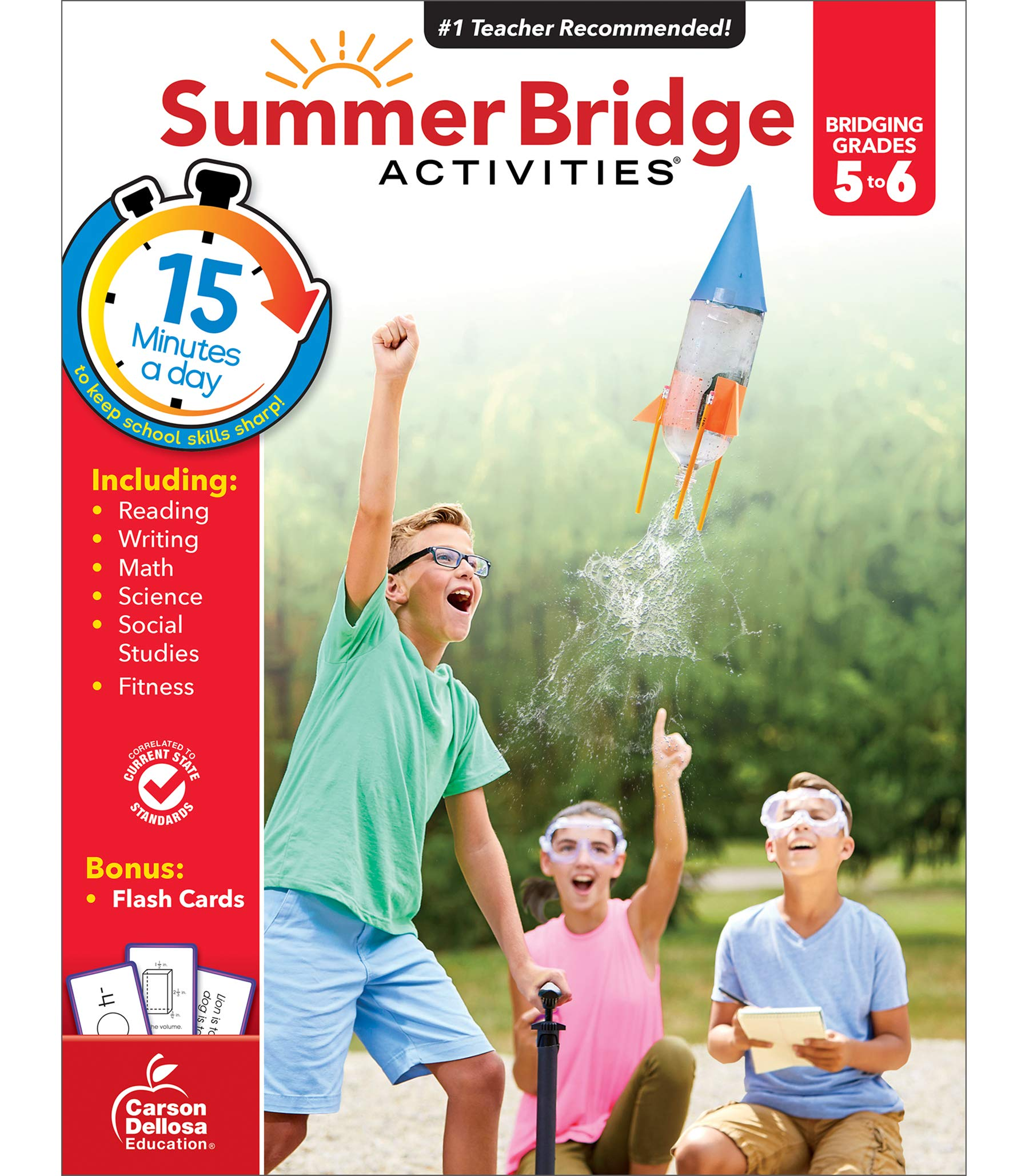 Summer Bridge Activities Workbook—Bridging Grades 5 to 6 in Just 15 Minutes a Day, Reading, Writing, Math, Science, Social Studies, Summer Learning Activity Book With Flash Cards (160 pgs)