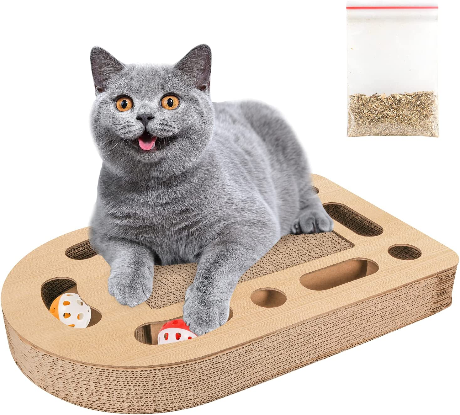 SU87HOMU 2 in 1 Cat Scratch Board Spherical Toy Bell Training Toys Indoor Toys for Grinding Claws Busy Boxes Scratch Boards Can Prevent Furniture Damage
