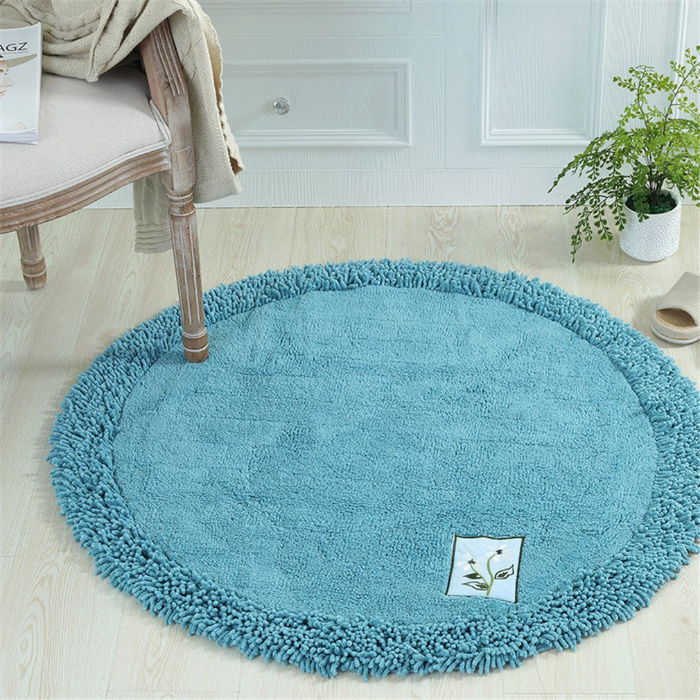 MIRUIKE Round Cotton Chenille Area Rugs for Bedroom Sitting Room Toilet Mat Absorbent Non-slip Soft