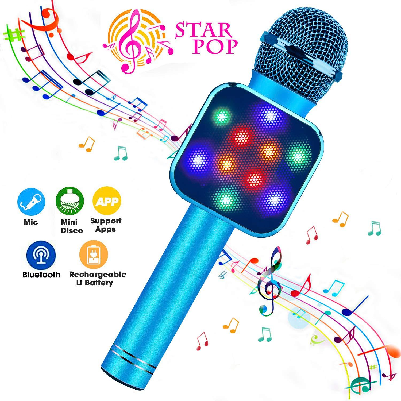 Bluefire Wireless Bluetooth Karaoke Microphone 5 bei 1 Handheld Karaoke Microphone mit geführt Lights, Portable Microphone für Kids, Toys für 4-12 Jahr alt Girls Boys (Blue)