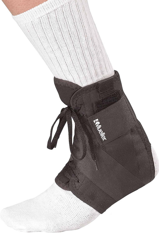 Mueller 4177-3 Tape Style - Tobillera de cordones para salto (talla L), color negro