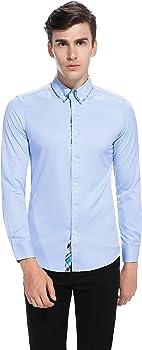 TONLEN Hombres Camisas Casual Camisa de Vestir Hombre Camisas Formales