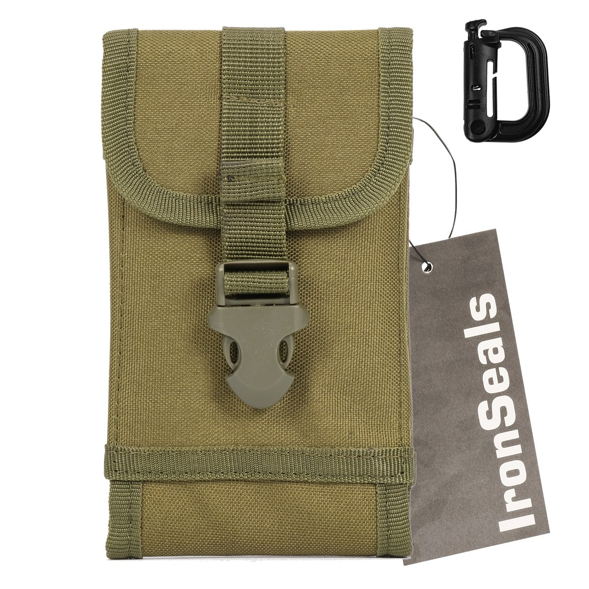 IronSeals Molle Tactical Pouch Compact EDC Utility Gadget Waist Bag Smartphone Holster with Belt Clip for iPhone 11 ProXS max XR XS 8 8+ 7 7+ 6, Samsung S9 S8+ S8 S7 S6 and Other (Bonus: Buckle)