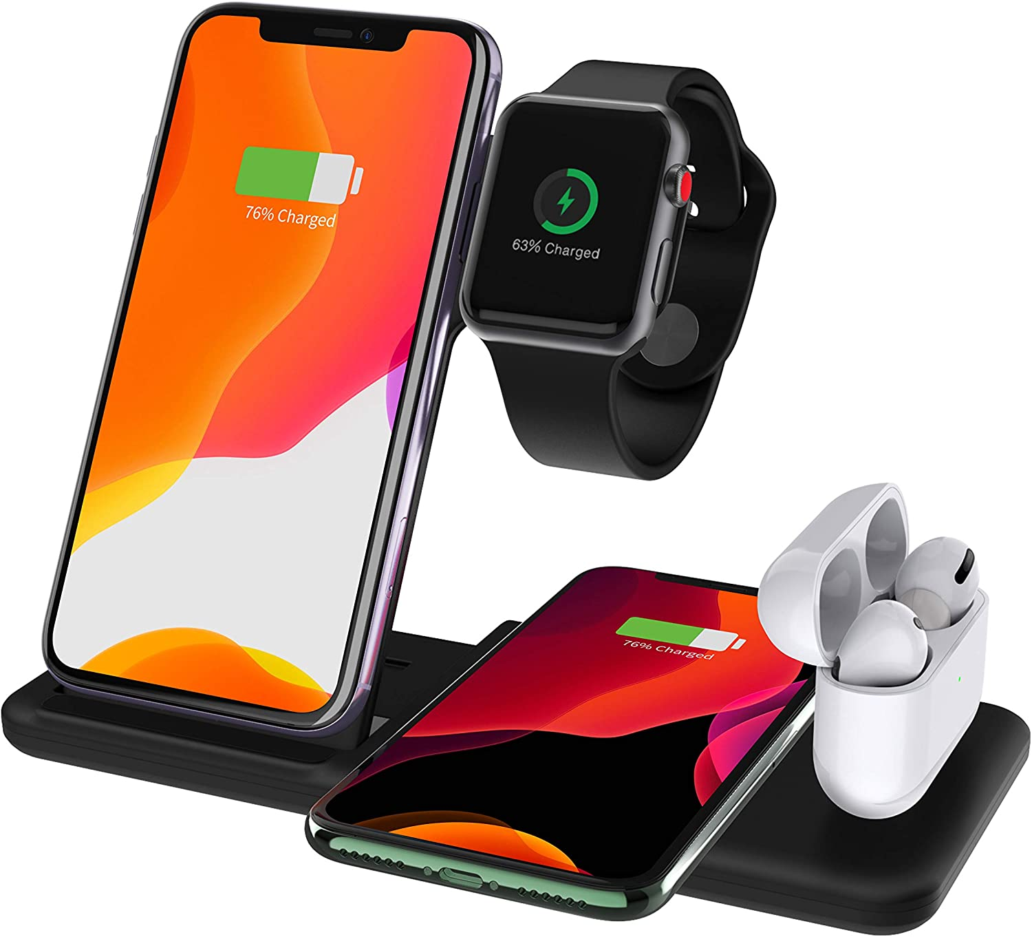 CNSL Wireless Charger Station,4 in 1 Foldable Wireless Charger Stand,15W Qi Fast Charging Dock for Airpods and Watch Series 5/4/3/2/1,Compatible with iPhone 11/11 Pro/X/8,Samsung Galaxy S10(Black)