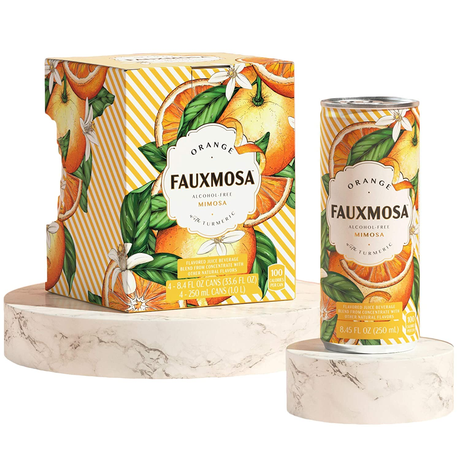 FAUXMOSA Alcohol-Free Mimosas   Best Premium Non-Alcoholic Cocktail, Made with California Grapes, Perfect Champagne Alternative, Non-GMO and Gluten-Free, 8.45 FL OZ Cans (4-Pack) Orange with Turmeric