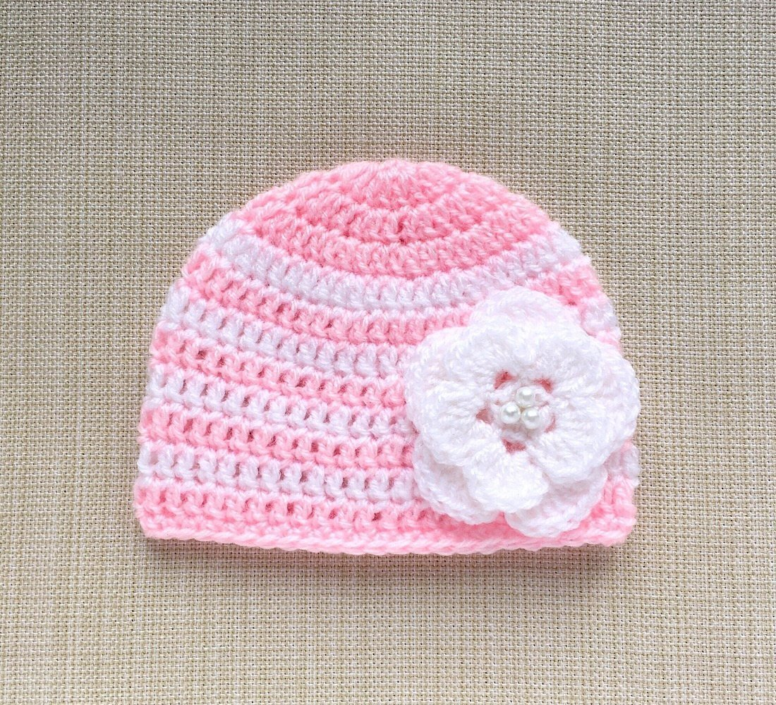 Amazoncom Pink And White Baby Girl Hat With Flower Crochet Newborn