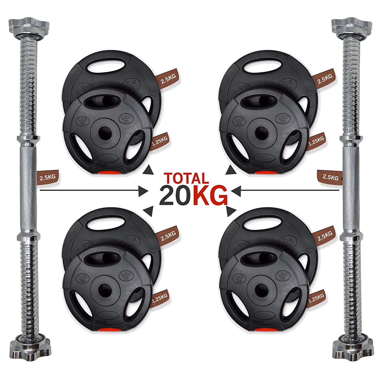 Juego de pesas, 20 kg/30 kg/40 kg, hierro fundido, 2 unidades, para ejercicio fitness y entrenamiento en el gimnasio, levantamiento de peso, color negro, ...